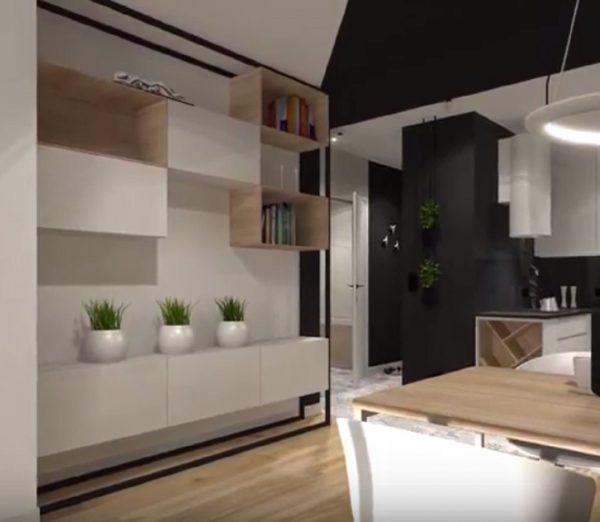 Vue du salon et de la cuisine du studio