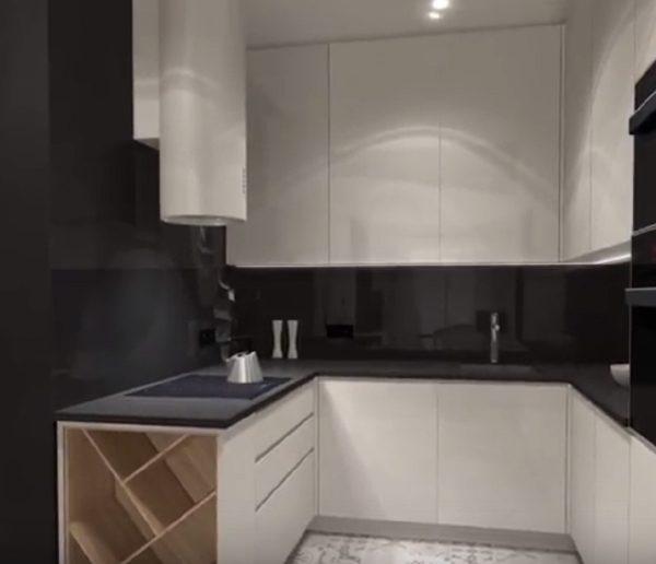 Le coin cuisine du studio en vue 3D
