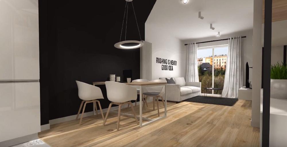 Vue 3D du salon du studio aménagé sur Ploemeur