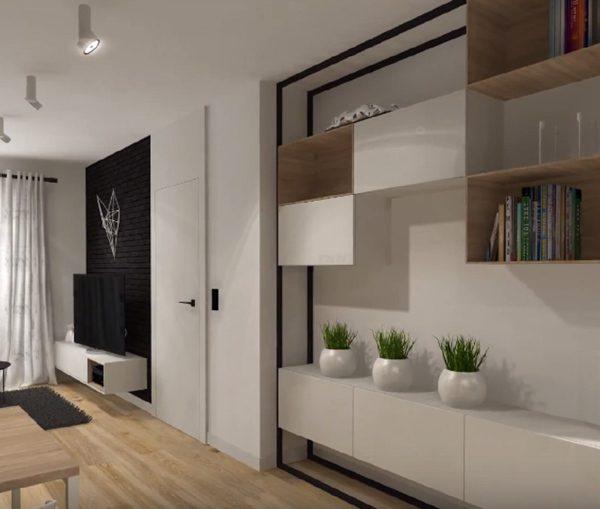 Vue 3D pour l'aménagement d'un studio de Ploemeur