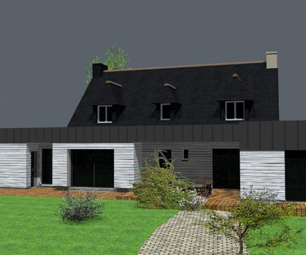 Vue 3D pour la création d'une extension de la maison sur Ploemeur