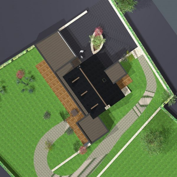 Vue 3D plongeante d'une maison pour la création d'une extension sur Ploemeur