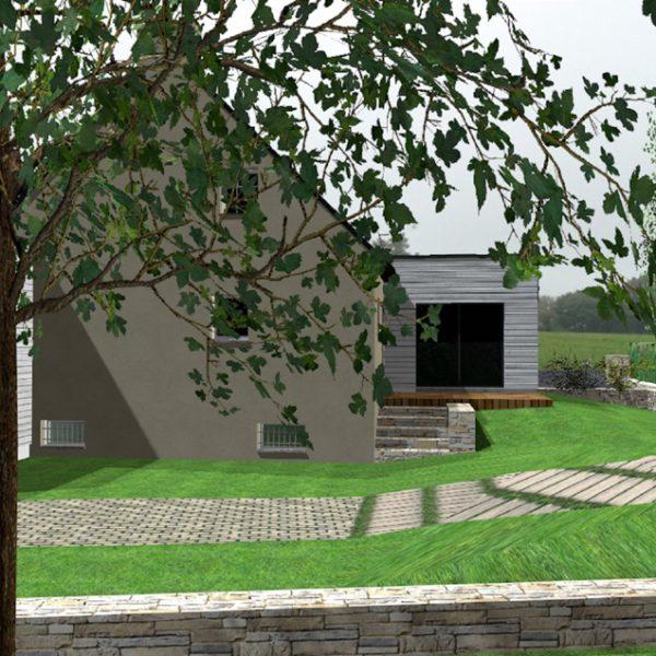Vue 3D d'une maison avec extension sur Ploemeur