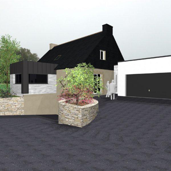 Vue 3D de l'extension d'une maison sur Ploemeur