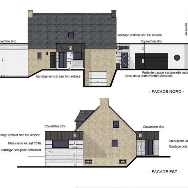Plan d'extension des façades d'une maison sur Ploemeur