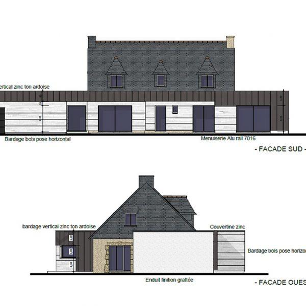 Plan d'extension d'une maison sur Ploemeur