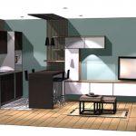Vue 3D de la cuisine et du salon pour la rénovation du studio à Concarneau