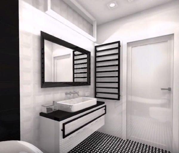 Vue de la salle de bain en noir et blanc