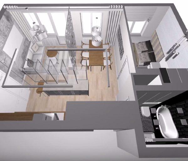 Vue demi-plongeante sur l'appartement de Lanester pour sa rénovation complète
