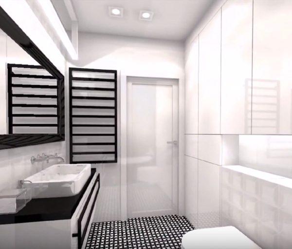 La salle de bain rénovée de l'appartement de Lanester