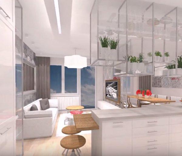 Ilot centrale de la cuisine de l'appartement rénové en vue 3D sur Lanester